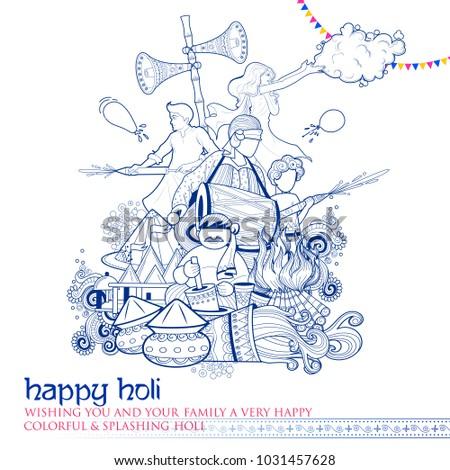 illustration of colorful Doodle Happy Holi Background for Festival of Colors celebration