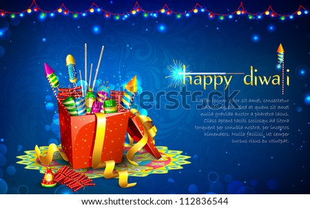 illustration of colorful firecracker in gift box for Diwali - stock vector