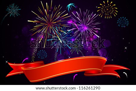 illustration of colorful firework banner on abstract background