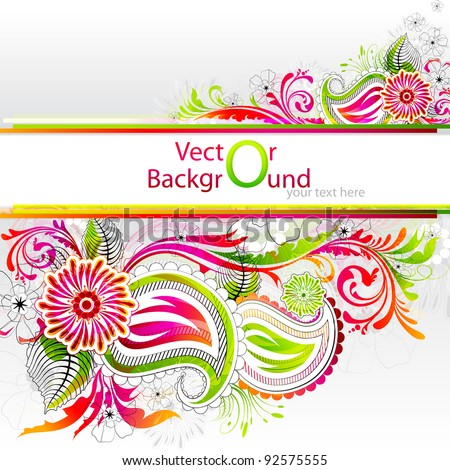 illustration of colorful floral banner with copy space