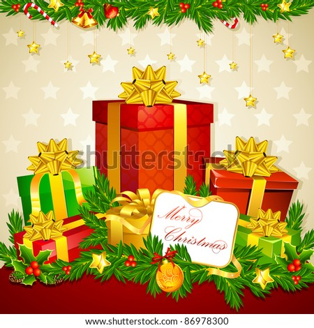 illustration of colorful gift box with christmas decoration