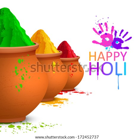 illustration of colorful gulal (colored powders ) for Happy Holi