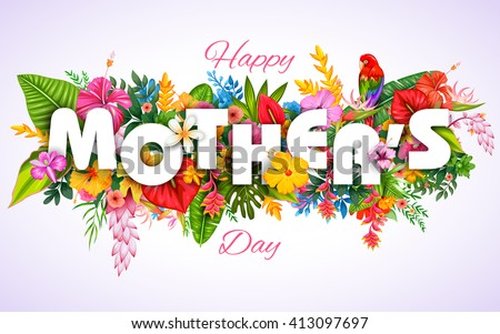 illustration of colorful Happy Mother's Day card with colorful flower #413097697