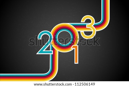 illustration of colorful Happy New Year with retro stripe
