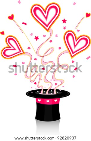 Illustration of Colorful Hearts Coming Out of a Hat