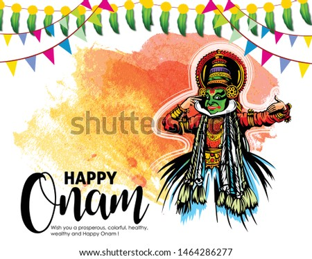 illustration of colorful Kathakali dancer and  snakeboat race in Onam celebration on background for Happy Onam festival of South India Kerala