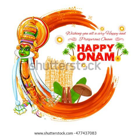 illustration of colorful Kathakali dancer face on grungy background for Happy Onam