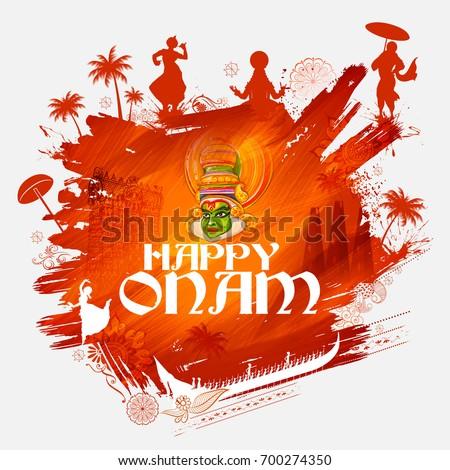 illustration of colorful Kathakali dancer on background for Happy Onam festival of South India Kerala