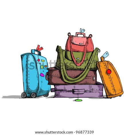 illustration of colorful luggage in retro style - stock vector