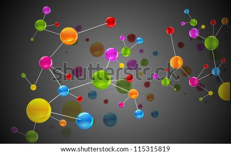 illustration of colorful molecule structure on abstract background