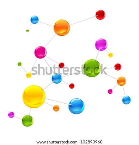 illustration of colorful molecule structure on white background