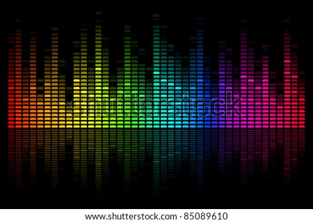 illustration of colorful musical bar showing volume on black background - stock vector