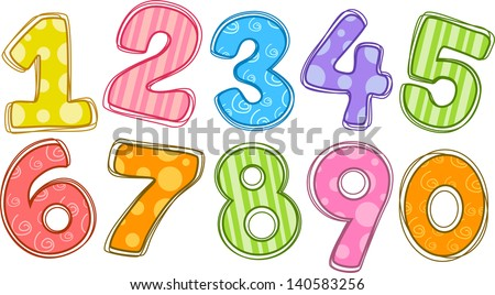 Illustration of colorful numbers
