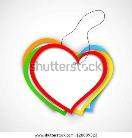 illustration of colorful paper heart for Love background