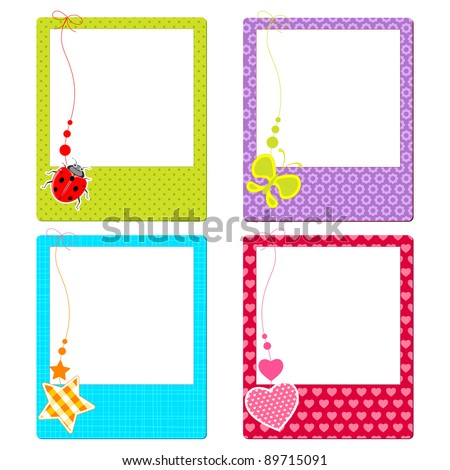 illustration of colorful photo frame with cute element - stock vector