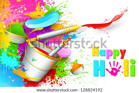 illustration of colorful spalsh with bucket full of color and pichkari in Holi background