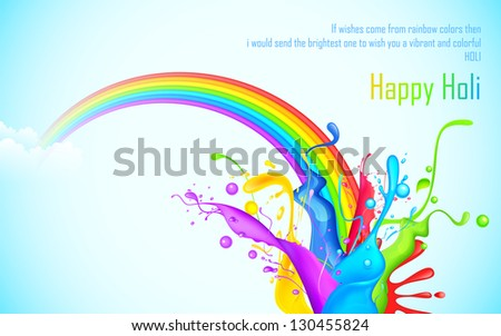 illustration of colorful splash of rainbow in Holi wallpaper