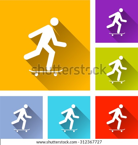 illustration of colorful square skateboard icons set