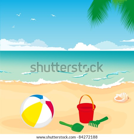 illustration of colorful toys lying on the sand by the sea