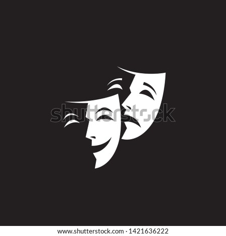 illustration of comedy and tragedy theatrical masks isolated Stock fotó ©