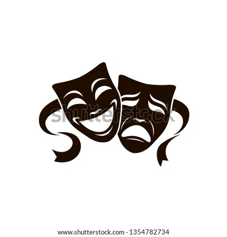 illustration of comedy and tragedy theatrical masks isolated on white background Stock fotó ©