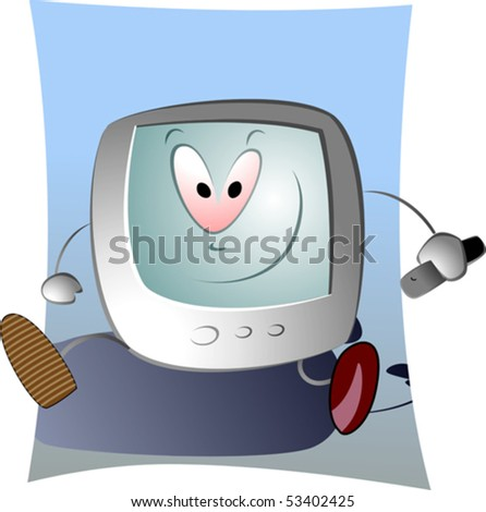 Illustration of computer system in cartoon screen stock vector