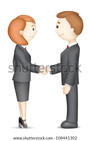 illustration of confident 3d business people in vector in handshake gesture