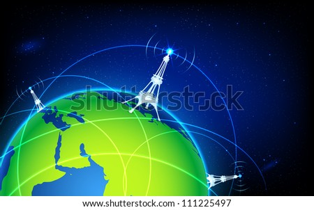 illustration of connectivity around world through wifi tower - stock vector