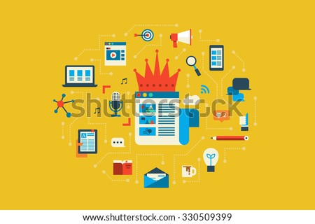 Illustration of content king flat design concept with icons elements