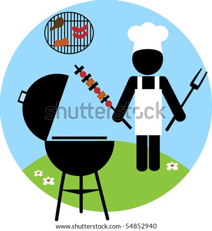 Illustration of cook making bbq outside