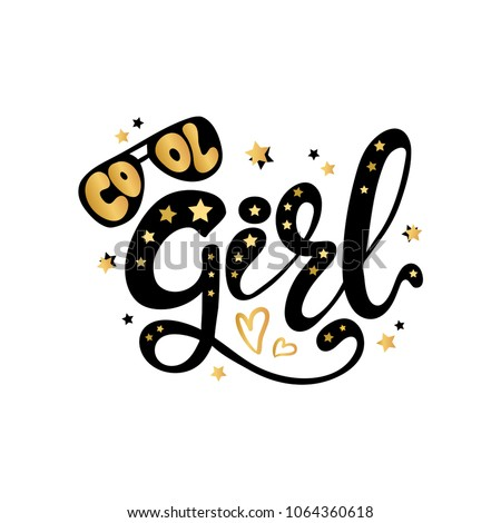 illustration of cool girl text