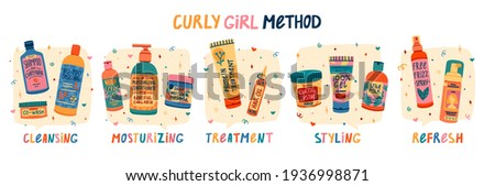 Illustration of cosmetics for curly hair routine. Concept to Curly girl method. Hair care bottle styling, cleansing, treatment for kinky hair. Doodle style. Vector.