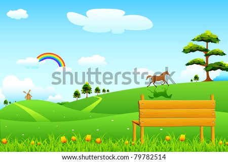 illustration of countryside rural scene with park bench