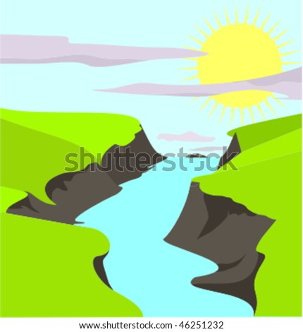Illustration of countryside with river running through stock vector