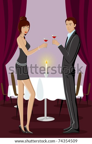 illustration of couple enjoying drink in party