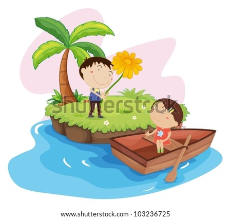 Illustration of couple on an island