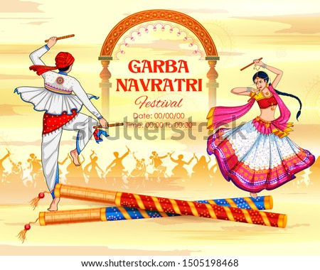 illustration of couple playing Dandiya in disco Garba Night banner poster for Navratri Dussehra festival of India