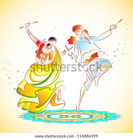 illustration of couple playing dandiya on rangoli