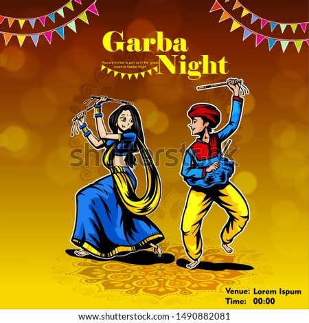 Illustration of couple playing Garba and Dandiya in Navratri Celebration and disco, Garba Night poster for Navratri Dussehra festival of India Stock photo ©