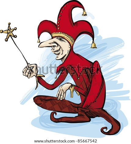 illustration of court jester in red costume