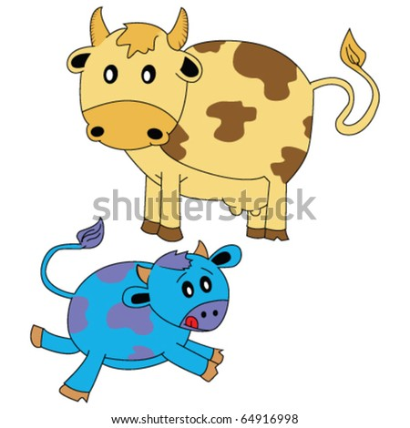 illustration of cow and little calf