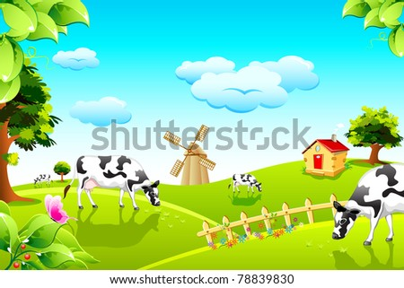 illustration of cow grazing in