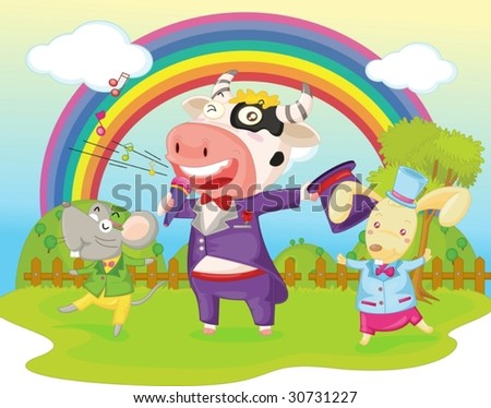 illustration of cow, mouse and rabbit on background of rainbow