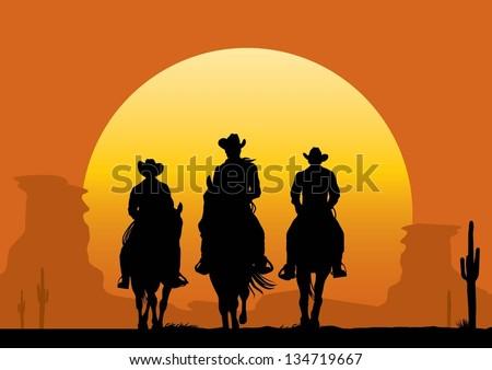illustration of cowboys riding