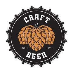 Illustration of craft beer bottle cap with hops for pub, bar, brewery, restaurant. Vector emblem, label, logo, stamp, badge.