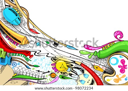 illustration of craft doodle with painting brush and color Сток-фото ©
