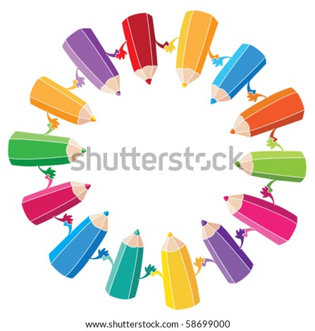 illustration of crayons with a white outline