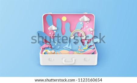 Illustration of creative design sea view inside suitcase. Open suitcase for sea travel in summer. Graphic design for summer. paper cut and craft style. vector, illustration.