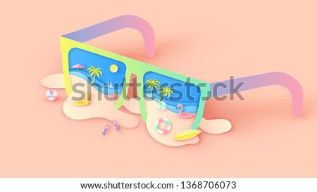 Illustration of creative design sea view inside sunglasses with beach equipment and sand beach splash out. Graphic design for summer. paper cut and craft style. vector,illustration.