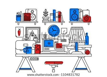 Illustration of creative office workspace interior in outline flat style on white background. Laptop, bookshelves, simple wooden table, lamp with shade, boxes and office stuff